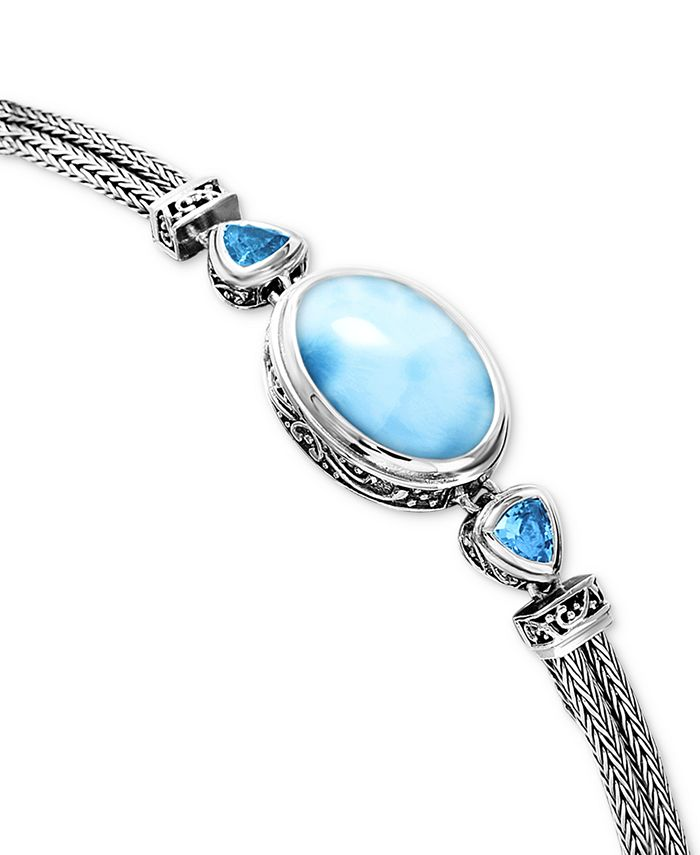 Marahlago - Larimar & Blue Topaz (3/4 ct. t.w.) Multi-Strand Bracelet in Sterling Silver