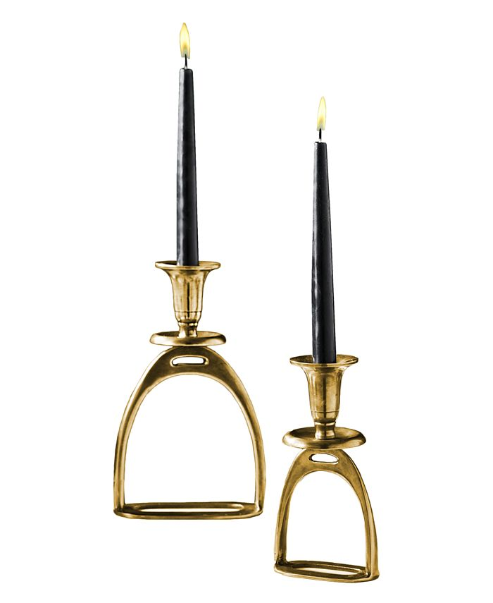 Two's Company - Stirrup Set of 2 Antique Gold Tapered Candle Holders Includes 2 Sizes