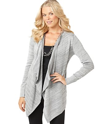 AGB Cardigan, Long Sleeve Metallic Spacedyed Open Front