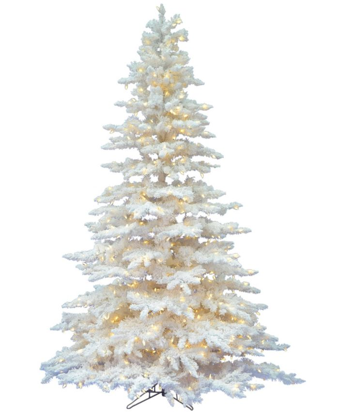 Vickerman 6.5' Flocked White Spruce Artificial Christmas Tree with 650 Warm White LED Lights & Reviews - Holiday Shop - Home - Macy's