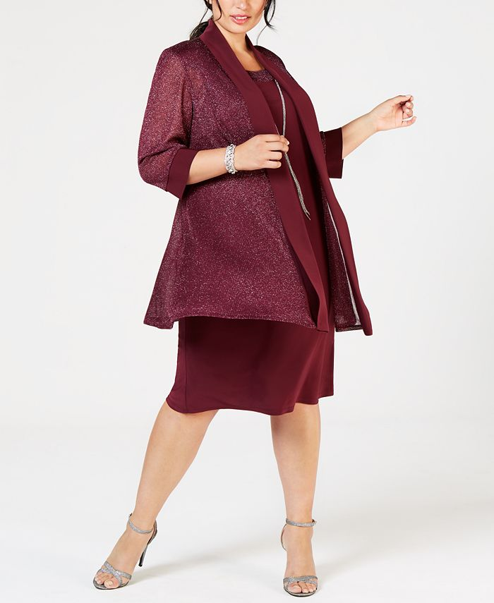 R & M Richards - Plus Size Shift Dress & Metallic Jacket