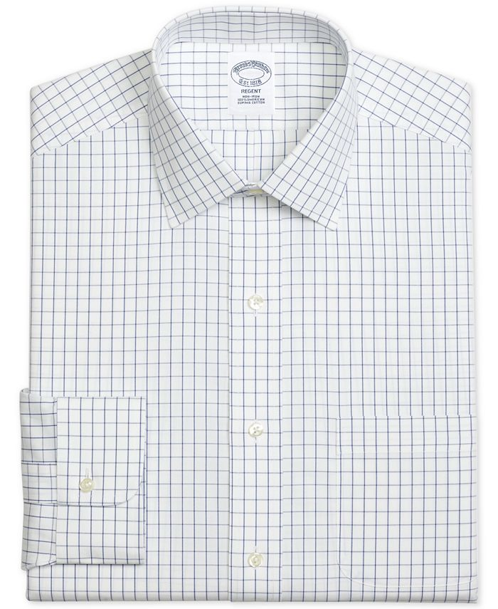 Brooks Brothers - Men's Regent Slim-Fit Non-Iron Windowpane Pinpoint Blue Dress Shirt