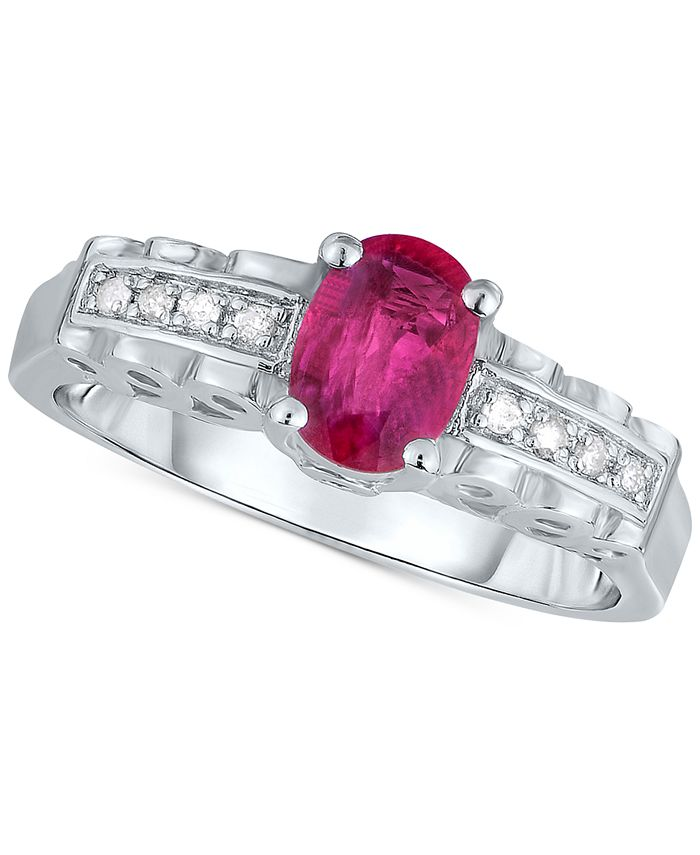 Macy's - Certified Ruby (9/10 ct. t.w.) & Diamond Accent Ring in Sterling Silver