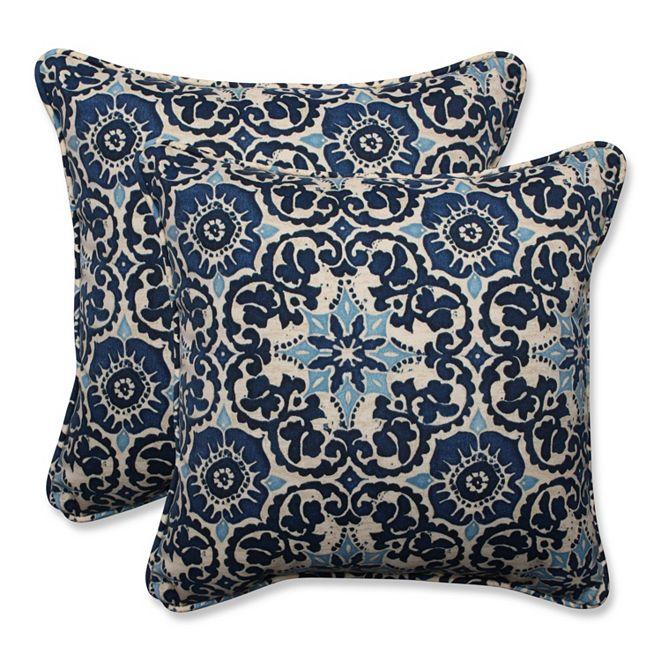 "Pillow Perfect Woodblock Prism Blue 18.5"" Throw Pillow, Set of 2"