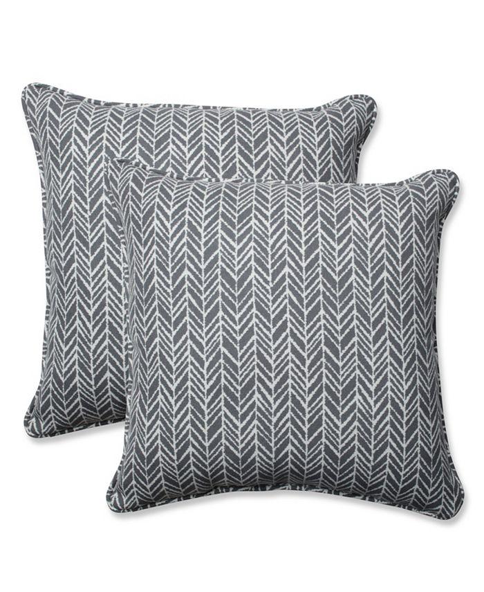 Pillow Perfect - Herringbone Slate 18.5-inch Throw Pillow (Set of 2)