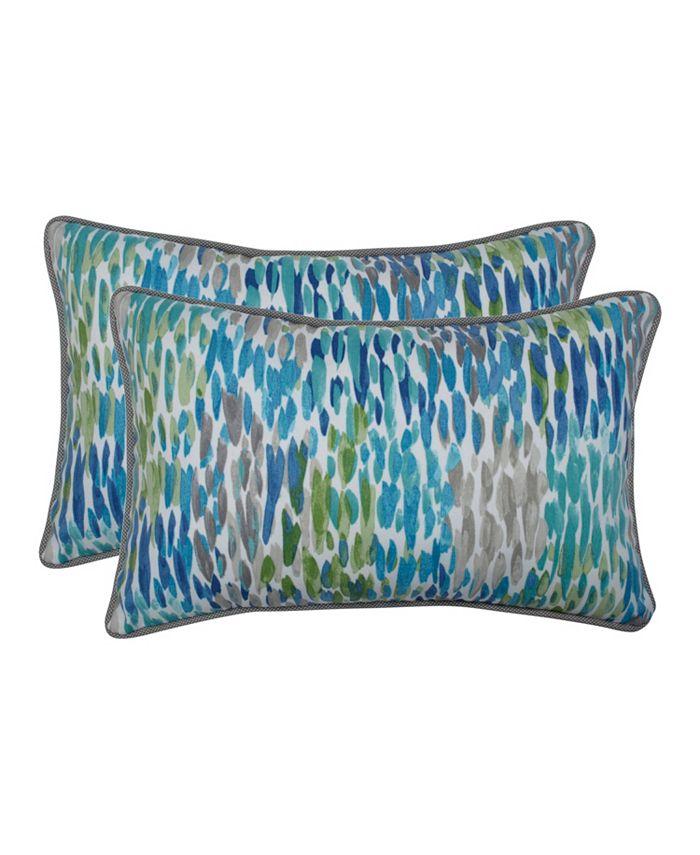Pillow Perfect - Make It Rain Cerulean Rectangular Throw Pillow (Set of 2)