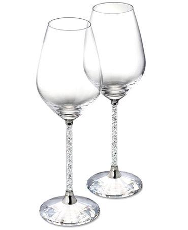 Swarovski stemware set of 2 crystalline red wine glassware stemware dining entertaining - Swarovski stemware ...