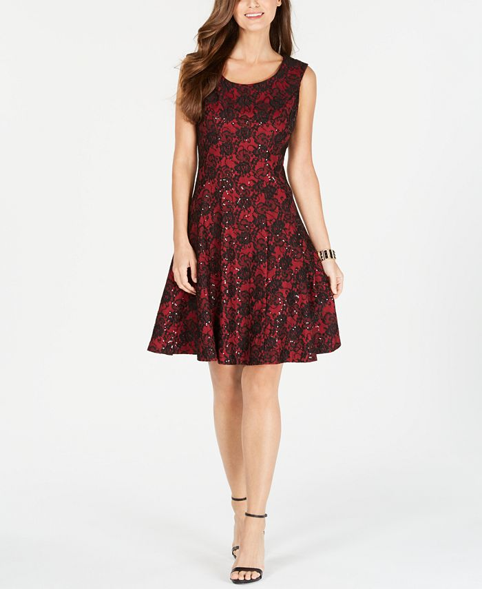 INC International Concepts - Sequined Lace Fit & Flare Dress