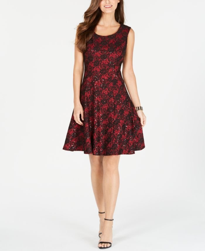 INC International Concepts INC Sequined Lace Fit & Flare Dress, Created for Macy's & Reviews - Dresses - Women - Macy's