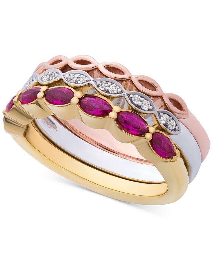 Macy's - 3-Pc. Set Lab-Created Ruby (9/10 ct. t.w.) & White Sapphire Accent Stack Rings in Sterling Silver, Gold-Plate & Rose Gold-Plate