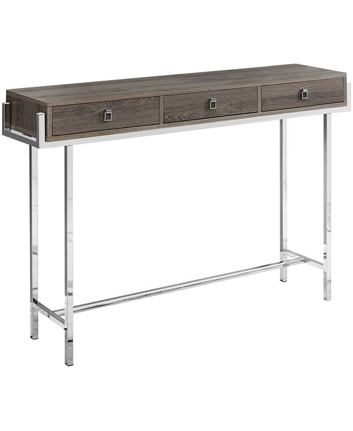 """Monarch Specialties - Accent Table - 48""""L Dark Taupe Chrome Metal"""