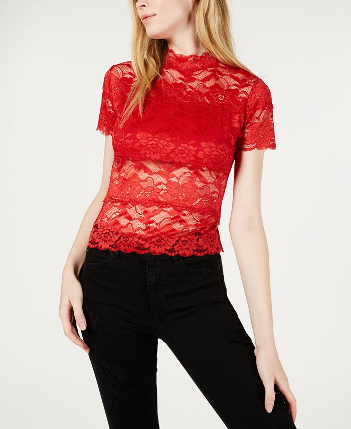 GUESS - Shayna Mock-Turtleneck Lace Top