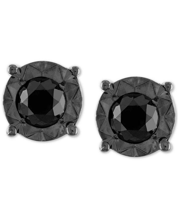Macy's - Black Diamond (1/2 ct. t.w.) Stud Earrings in Sterling Silver