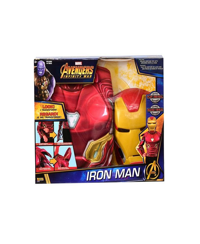 BuySeasons Deluxe Iron Man Flip N Reveal Little and Big Boys Dress Up Set
