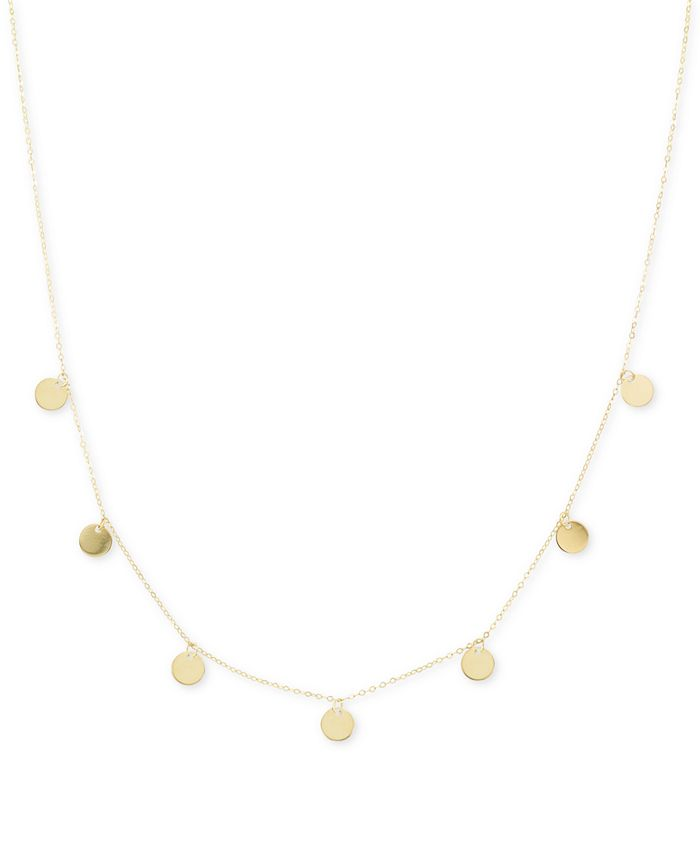 """Italian Gold - Polished Disc 18"""" Statement Necklace (1/2mm) in 14k Gold"""