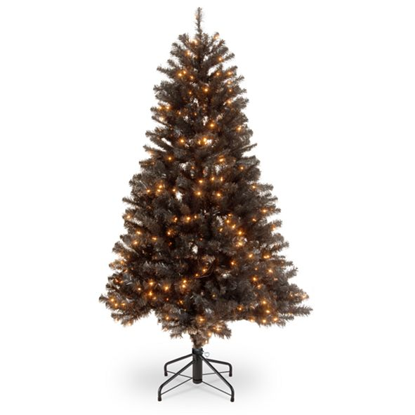 "National Tree Company National Tree 4 .5"" North Valley Black Spruce Hinged Tree with 200 Clear Lights"