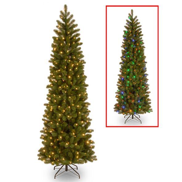 "National Tree Company National Tree 7 .5' ""Feel Real"" Down Swept Douglas Fir Pencil Slim Memory-Shape Hinged Tree with 350 Low Voltage Dual LED Lights"