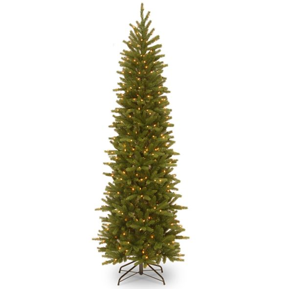 """National Tree Company National Tree 6 .5"""" Feel Real Grande Fir Pencil Slim Tree with 250 Clear Lights"""