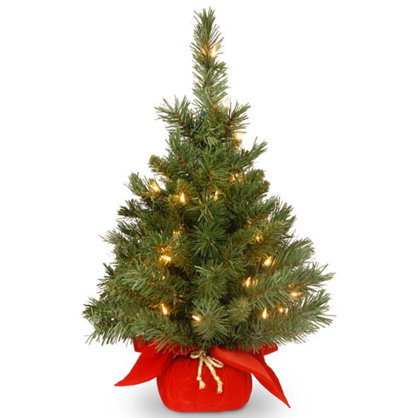 """National Tree Company 24"""" Majestic Fir Tree with 35 Clear Lights and Red Cloth Bag"""