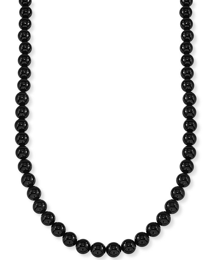 """Esquire Men's Jewelry - Onyx (8mm) 30"""" Necklace (Also Available in Red Tiger's Eye)"""