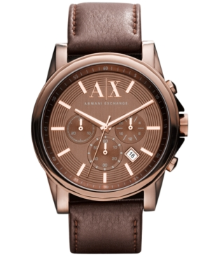 AX Armani Exchange Watch, Men's Chronograph Dark Brown Leather Strap 45mm AX2090