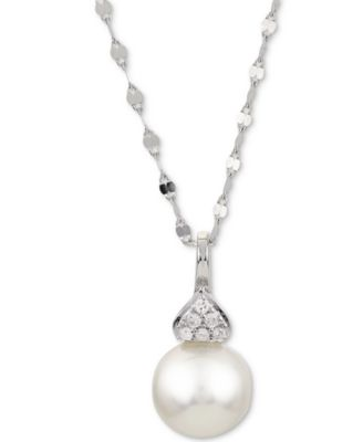 """Cultured Akoya Pearl (7-1/2mm) & Diamond Accent 18"""" Pendant Necklace in 14k White Gold"""