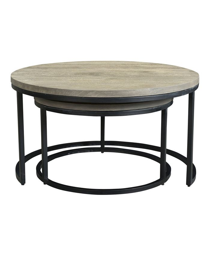 Moe S Home Collection Drey Round Nesting Coffee Tables Set Of Two Reviews Home Macy S