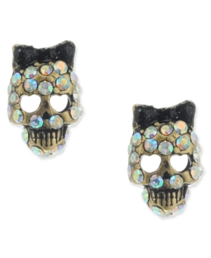 Betsey Johnson Small Skull Crystal Stud Earrings