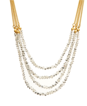 Kenneth Cole New York Necklace, Silver Faceted Glass Multi Row Necklace