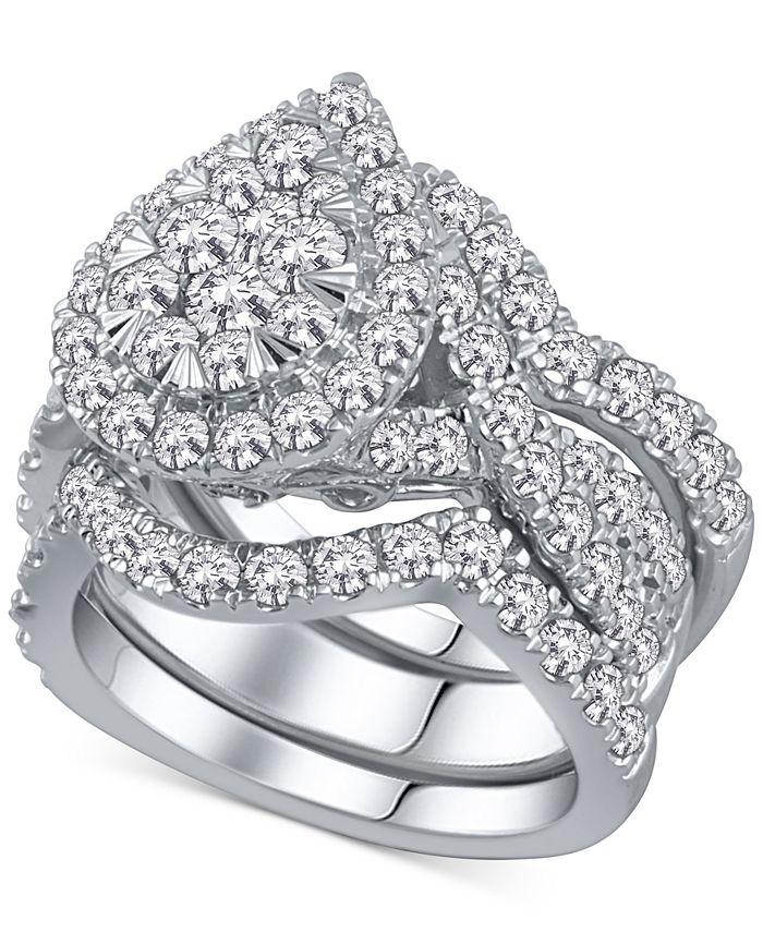 Macy's - 3-Pc. Diamond Pear Cluster Bridal Set (2 ct. t.w.) in 14k White Gold