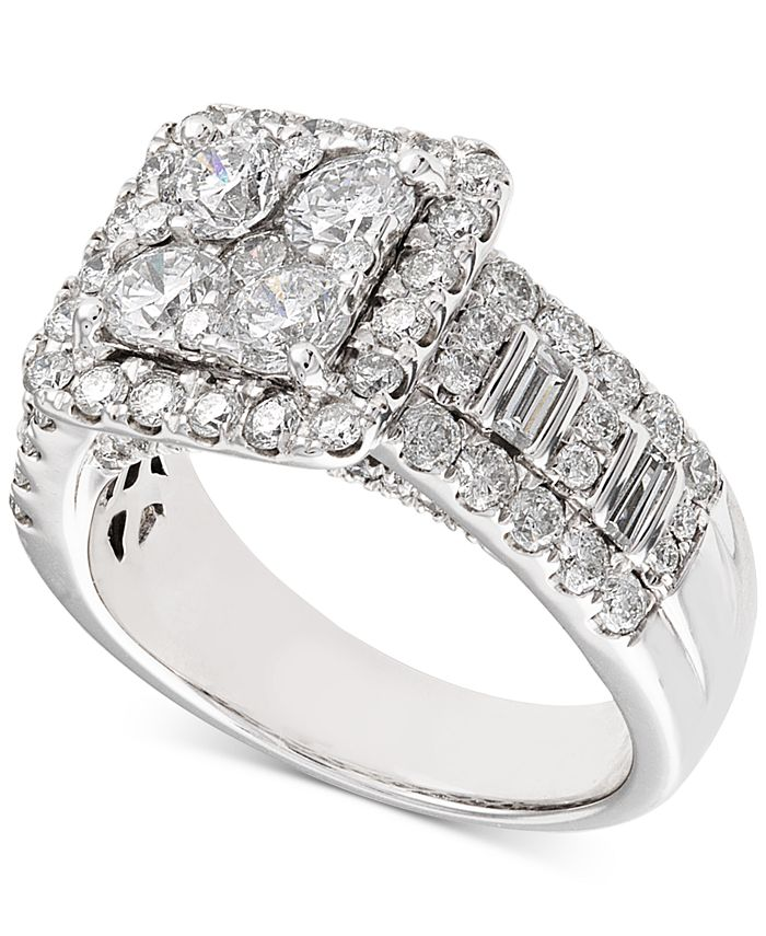 Macy's - Diamond Square Cluster Engagement Ring (2-1/2 ct. t.w.) in 14k White Gold