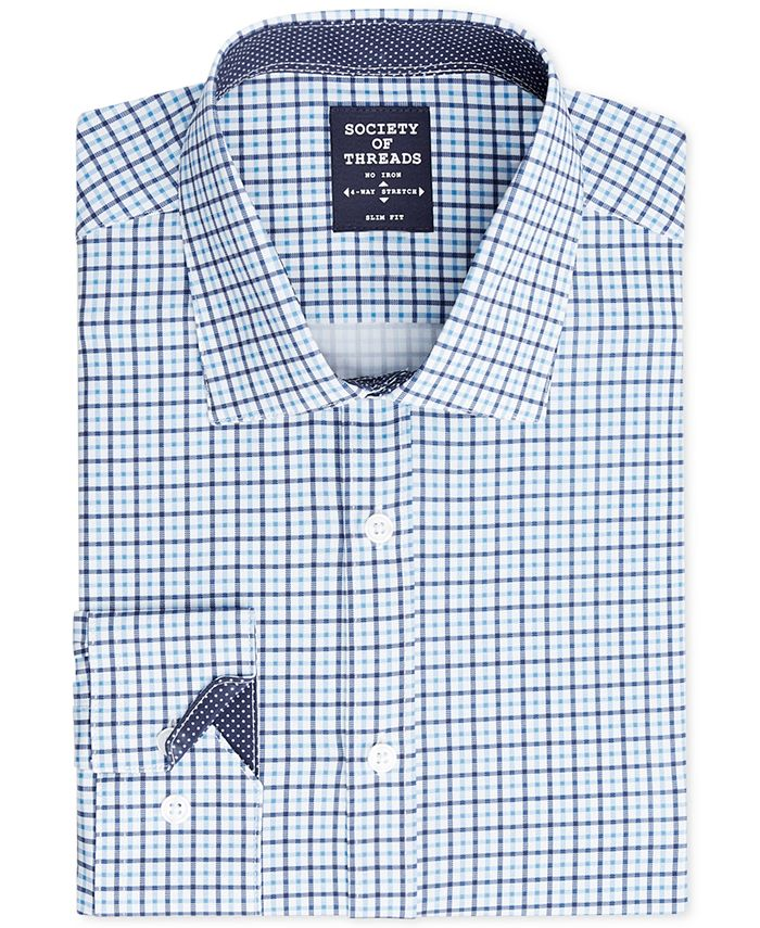 Society of Threads - Men's Slim-Fit 4-Way Stretch Small Check Dress Shirt