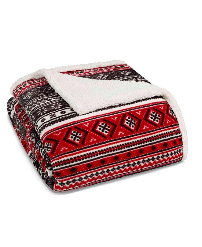 Eddie Bauer Classic Fair Isle Black Sherpa Twin Blanket