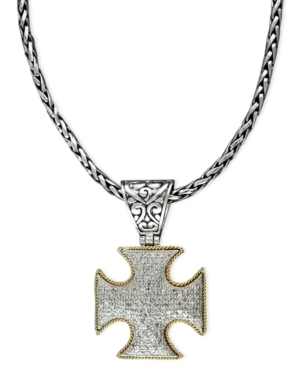 Balissima by Effy Collection Diamond Necklace, 18k Gold and Sterling Silver Cross Pendant (1/2 ct. t.w.)