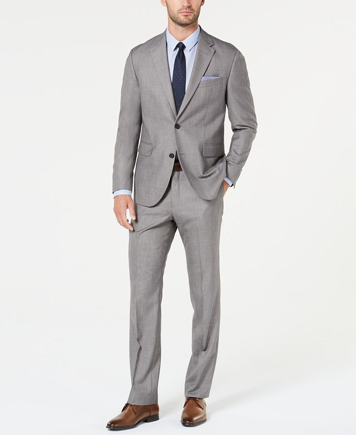 Dockers - Men's Modern-Fit Light Gray Sharkskin Suit