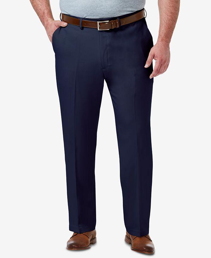 Haggar - Men's Big & Tall Premium Comfort Stretch Classic-Fit Solid Flat Front Dress Pants