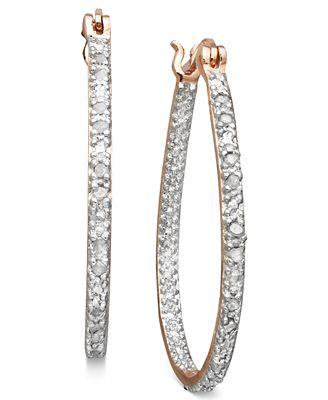 Victoria Townsend Rose Cut Diamond Oval Hoop Earrings In