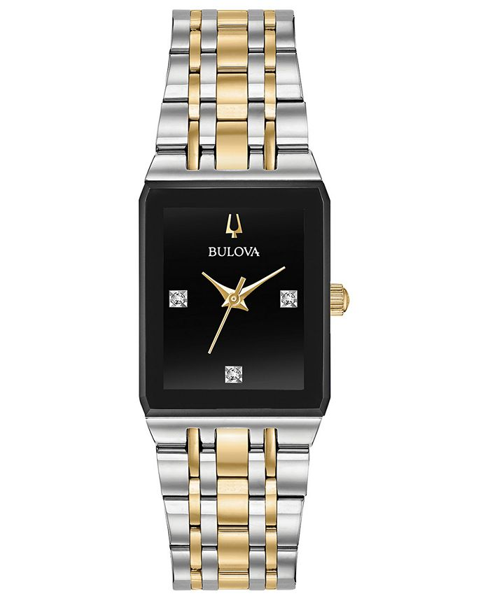 Bulova - Women's Futuro Diamond-Accent Two-Tone Stainless Steel Bracelet Watch 20.5x32mm