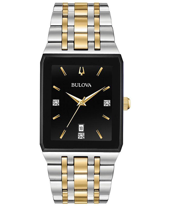 Bulova - Men's Diamond-Accent Two-Tone Stainless Steel Bracelet Watch 30.5x45mm