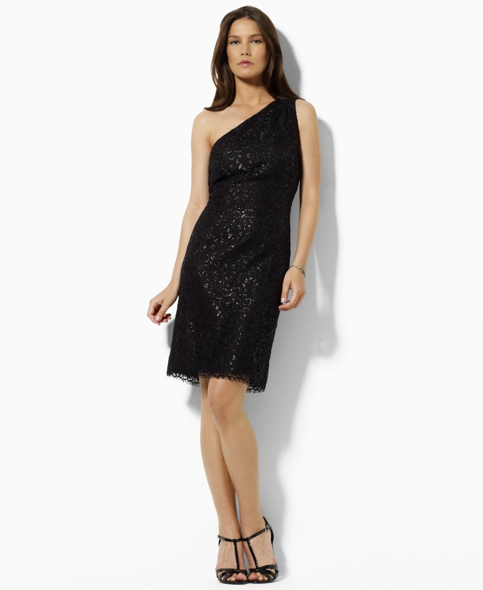 Lauren by Ralph Lauren Dress, One Shoulder Sequin Lace Cocktail Dress   Dresses   Women