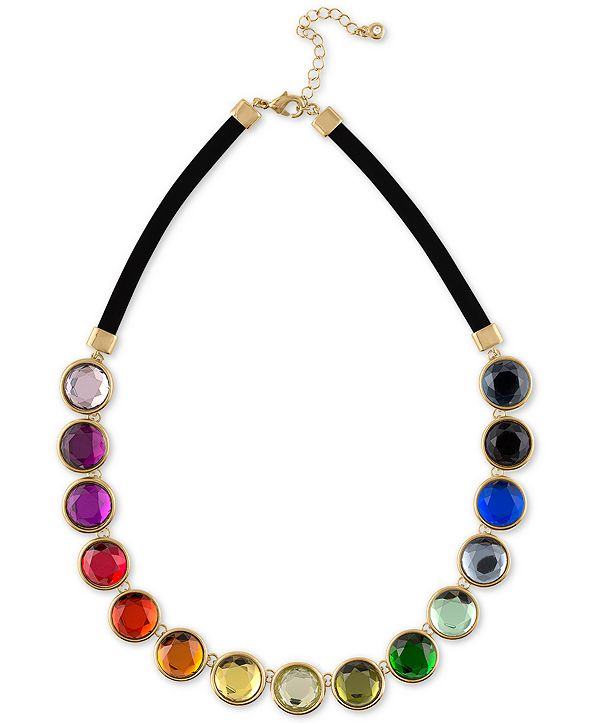 "RACHEL Rachel Roy Gold-Tone Multicolor Crystal Faux Suede Collar Necklace, 16"" + 2"" extender"