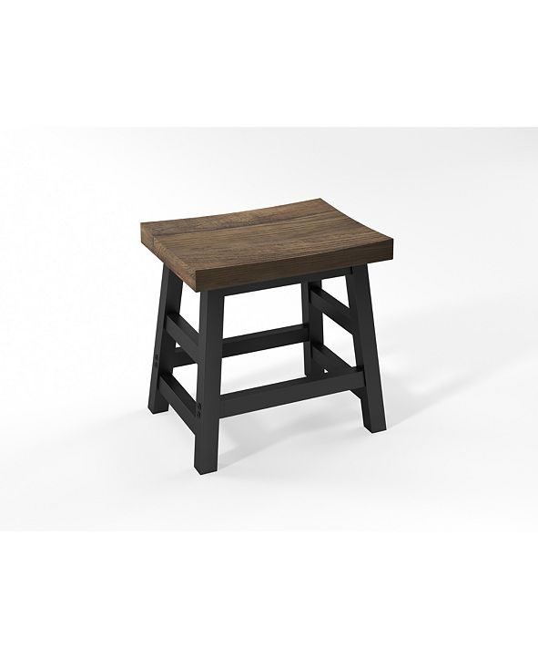 "Alaterre Furniture Pomona - Reclaimed Wood 20""H Barstool with Metal Legs"