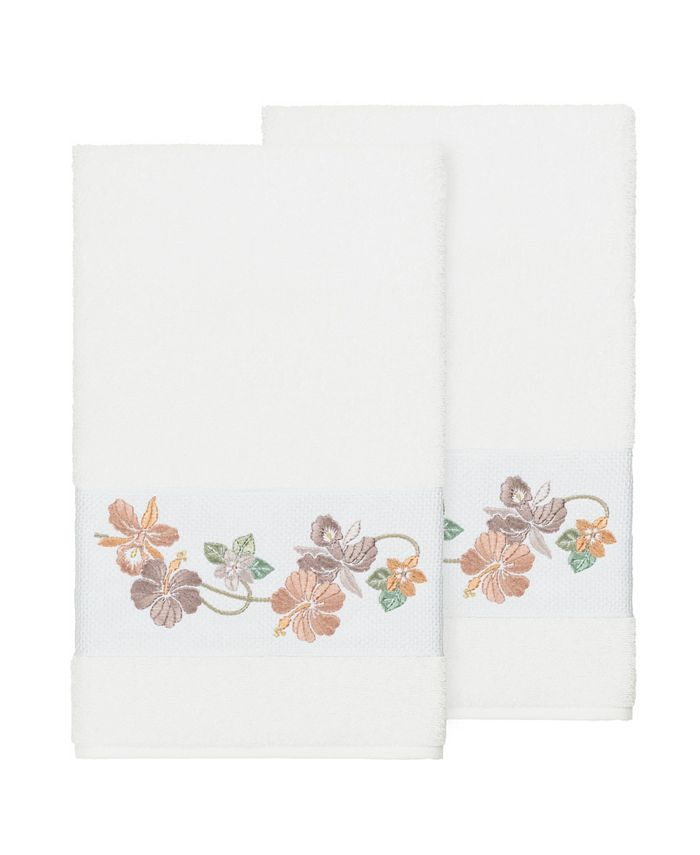 Linum Home - Caroline 2-Pc. Embroidered Turkish Cotton Bath Towel Set