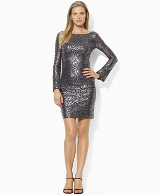 Long Sleeve Sequin Dress on Lauren By Ralph Lauren Dress  Long Sleeve Sequin Boatneck Mini Shift