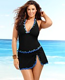 Profile by Gottex Plus Size Swimsuit Tricolore Ruffle Halter Tankini Top Womens Swimsuit