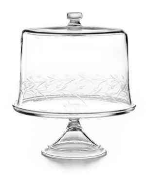 Martha Stewart Collection Serveware, Glass Cake Stand with Leaf Dome