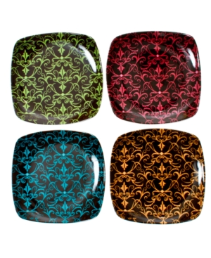 Thirstystone Dinnerware, Set of 4 Damask Daydream Wine Glass Plates