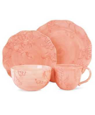 CLOSEOUT! Edie Rose by Rachel Bilson Dinnerware, Hydrangea Coral 4 Piece Place Setting