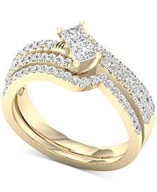 Diamond Two-Stone Bridal Set (7/8 ct. t.w.) in 14k Gold