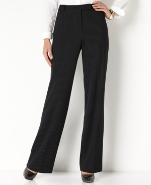 Charter Club Pants, Straight Leg Slimming Pinstripe Trousers